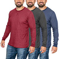 Boxercraft Men's Reversible Long Sleeve Crew Shirts - 3 Pack