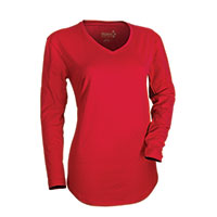 Hanes Women's Red Long Sleeve V- Neck Shirt