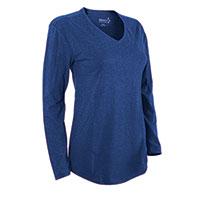 Hanes Women's Blue Long Sleeve V- Neck Shirt