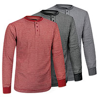 Fourcast Long Sleeve Men's Thermal Henley's - 3 Pack