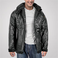M Collection Men's Black Leather Shearling Jacket