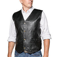 M Collection Black Patch Leather Vest