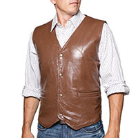 M Collection Chestnut Patch Leather Vest