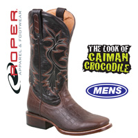 Roper Caiman Print Boots - Black/Brown