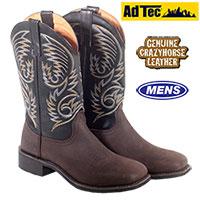 Ad Tec Mens Black Western Boots