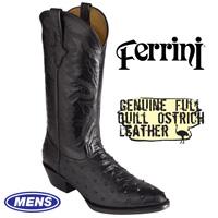 Black Ferrini Ostrich Boots