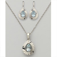 Pear Shaped Blue Topaz Earring & Necklace Set