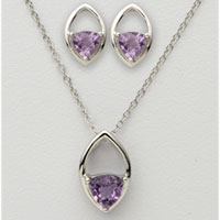Trillion Amethyst Earring & Necklace Set