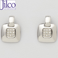 Diamond & Sterling Silver Door Knocker Earrings