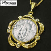 Silver Standing Liberty Quarter Goldtone Pendant Scalloped with Crystals and 24 Inch Chain