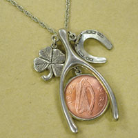 Lucky Irish Penny Silvertone Wish Bone Pendant
