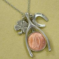 Lucky Irish Penny Silvertone Wish Bone Pendant