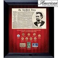 New York Times Lincoln Inauguration 150th Anniversary Coin and Stamp Collection Framed
