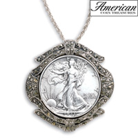 Silver Walking Liberty Half Dollar Marcasite Coin Pin/Pendant