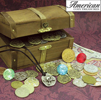 Kid's Treasure Chest with Replica Pirate Coins/Foreign Coins/Gems/Necklace