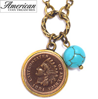 Indian Head Cent with Genuine Turquoise Bead Coppertone Pendant