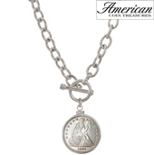 Civil War Seated Liberty Sterling Silver Toggle Pendant