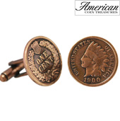 Copper Indian Head Cuff Links