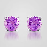 Purple Amethyst Stud Earrings