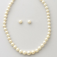 Yellow Gold Pearl Strand & Earring Set