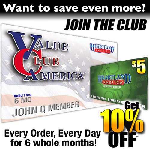 6 Month Value Club Membership with FREE* $10 Heartland Dollars
