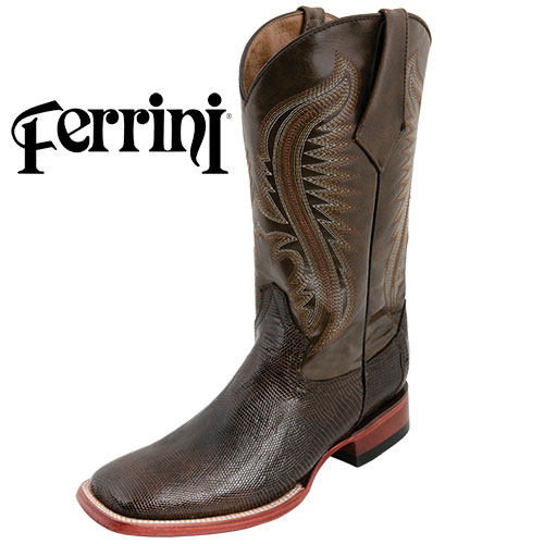 Men's Chocolate Ferrini Lizard Boots