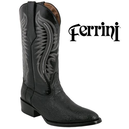 Men's Black Ferrini Lizard Boots