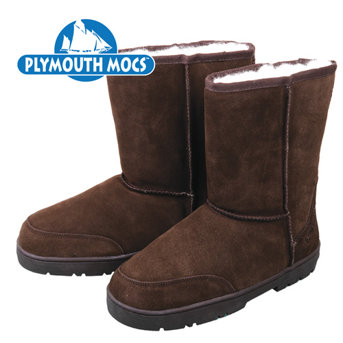 Plymouth Mocs Women's Dark Brown Leather Moccasin Boots