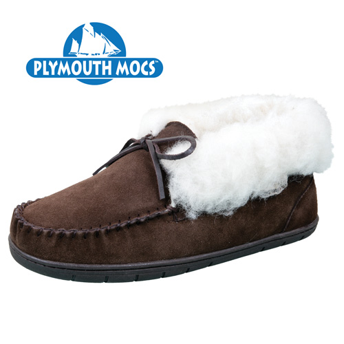 Plymouth Mocs Men's Dark Brown Leather Ankle Tie Slippers