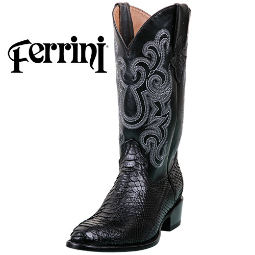 Ferrini Men's Black Python R-Toe Boots