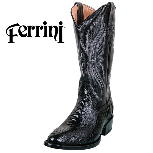 Ferrini Men's Black Ostrich Boots