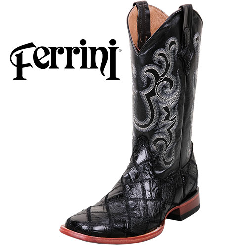Ferrini Men's Black Patch Gator Ostrich Boots
