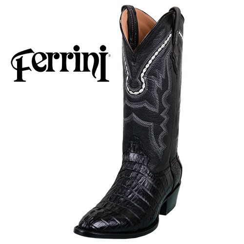 Ferrini Men's Black Caiman Tail Cut Boots