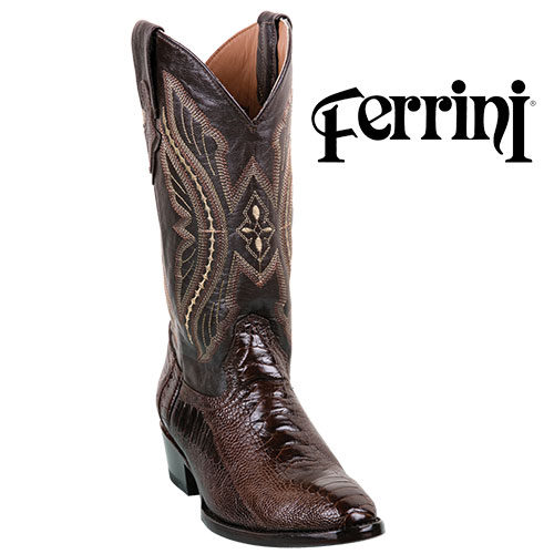 Ferrini Ostrich Men's Chocolate Boots