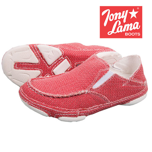 Tony Lama Women's Red Canvas Slip-On Shoes