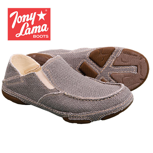 Tony Lama Men's Grey Canvas Slip-On Shoes
