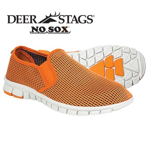 NoSox Men's Orange Mesh Slip-On Shoes