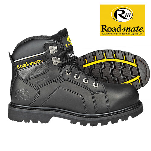 Roadmate Men's Black Gravel Work Boots