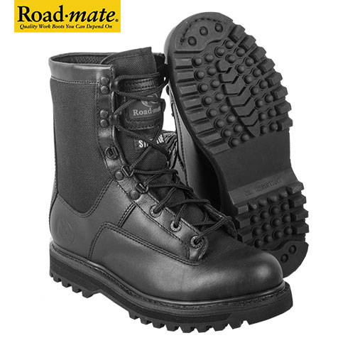Roadmate Men's Full Grain Leather Black 8 Inch Cordura Tactical Boots