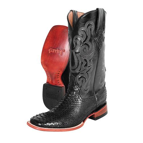 Ferrini Men's Black 13 Inch Python Cowboy Boots