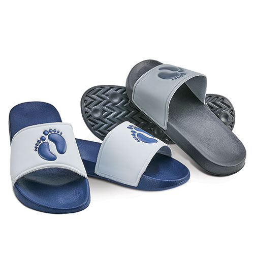 Hang Ten Men's Grey & Blue Athletic Slides
