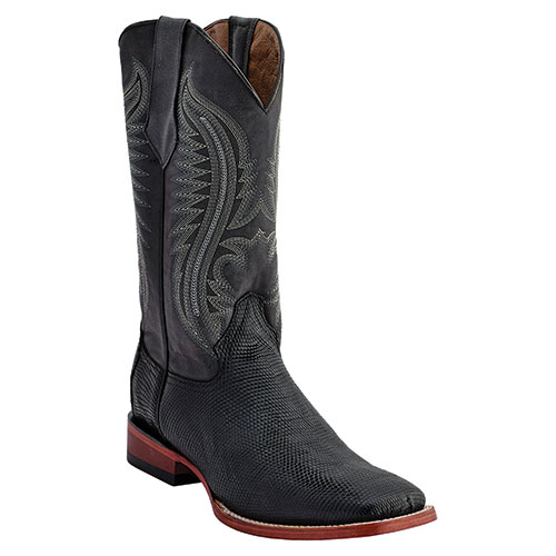 Ferrini Men's Black Cowboy Lizard Belly Boots