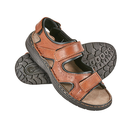 Island Surf 3-Strap Light Brown Leather Sandals