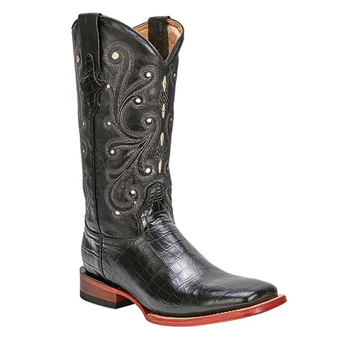Ferrini Men's Black Print Belly Gator Boots