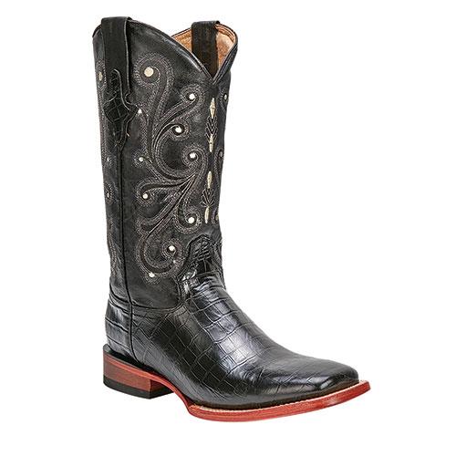 Ferrini Men's Black Print Belly Gator Boots