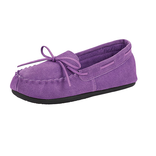 Women's Suede Leather Purple Moccasins