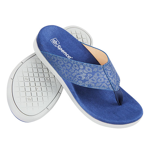Spenco Women's Navy/Cheetah Flip Flops