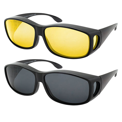 Shark Eyes Day & Night Fitover Sunglasses - 2 Pack
