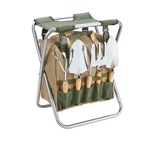 Folding Garden Stool and Tool Set - 7 Piece