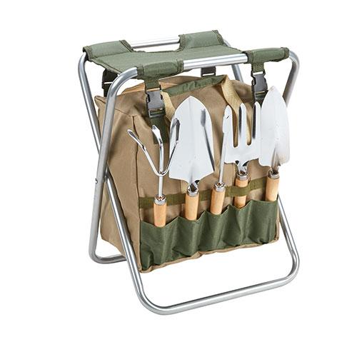 Folding Garden Stool and Tool Set - 7 Piece